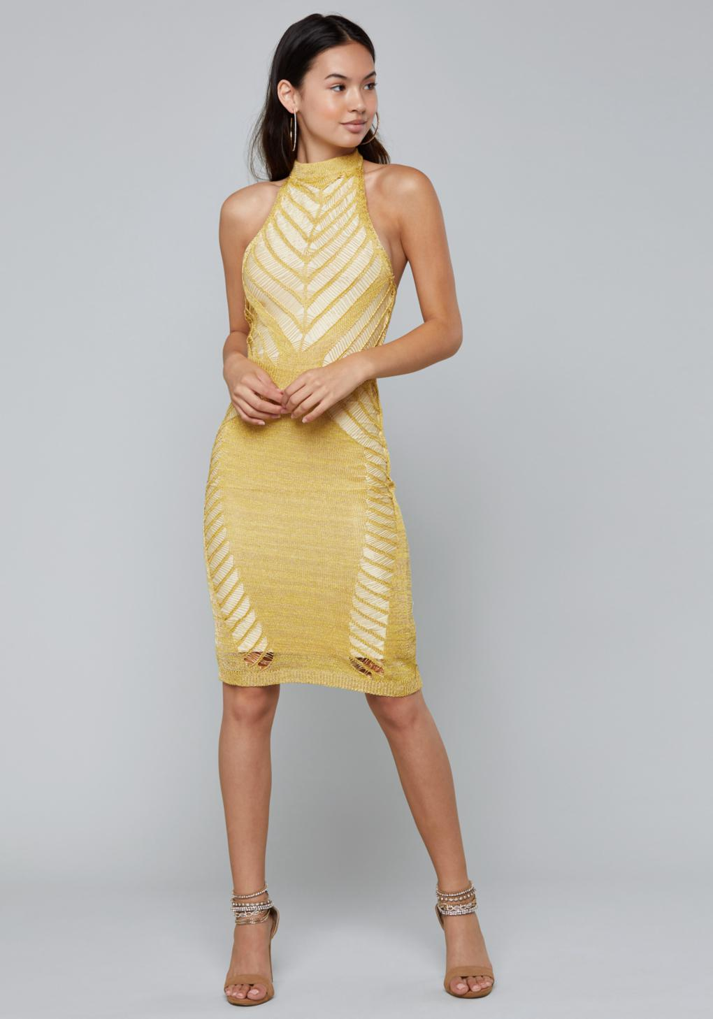 86ede6db67f Bebe Metallic Knit Halter Dress in Metallic - Lyst