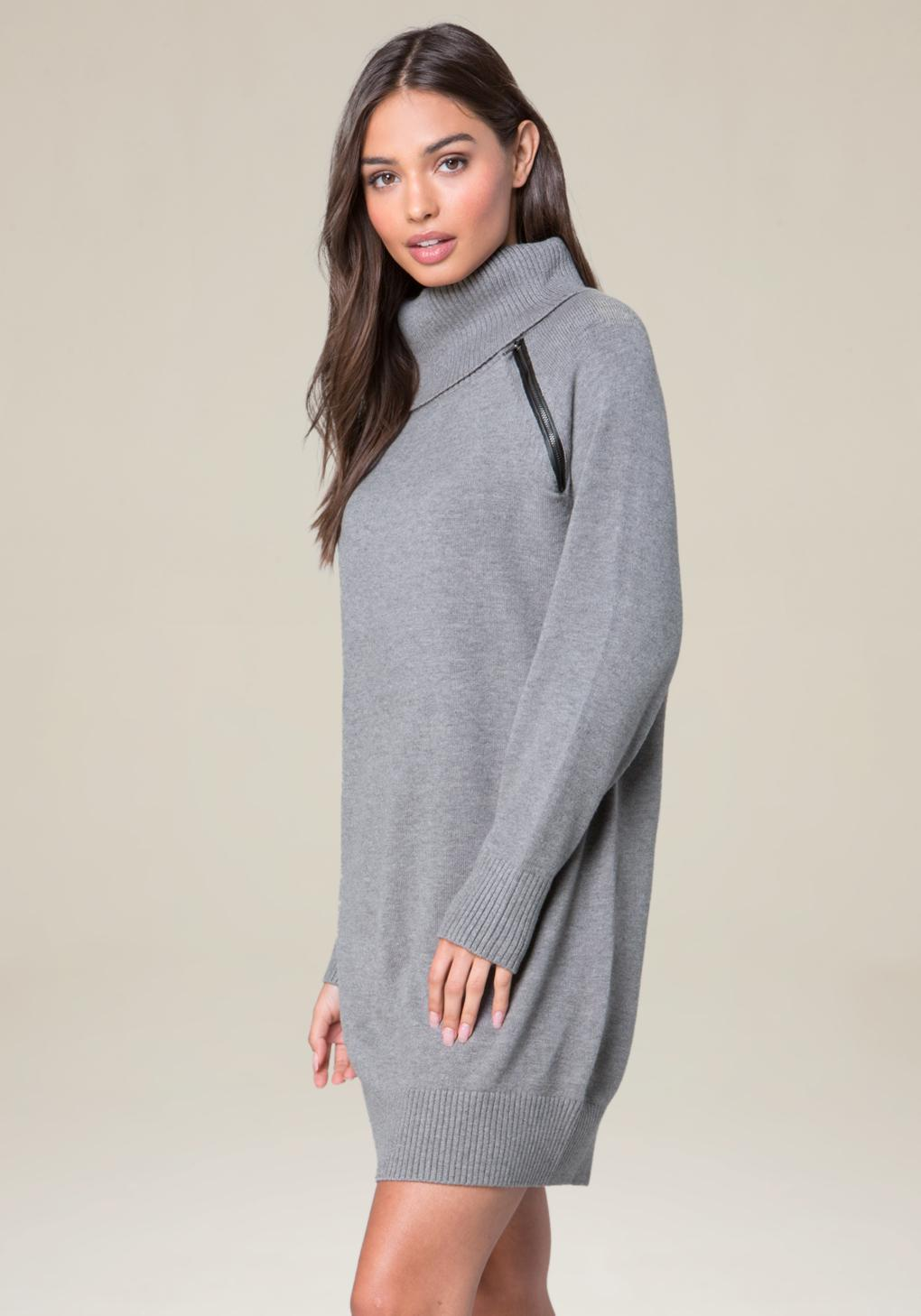 d1a5a21ab47 Bebe Zip Detail Sweater Dress in Gray - Lyst