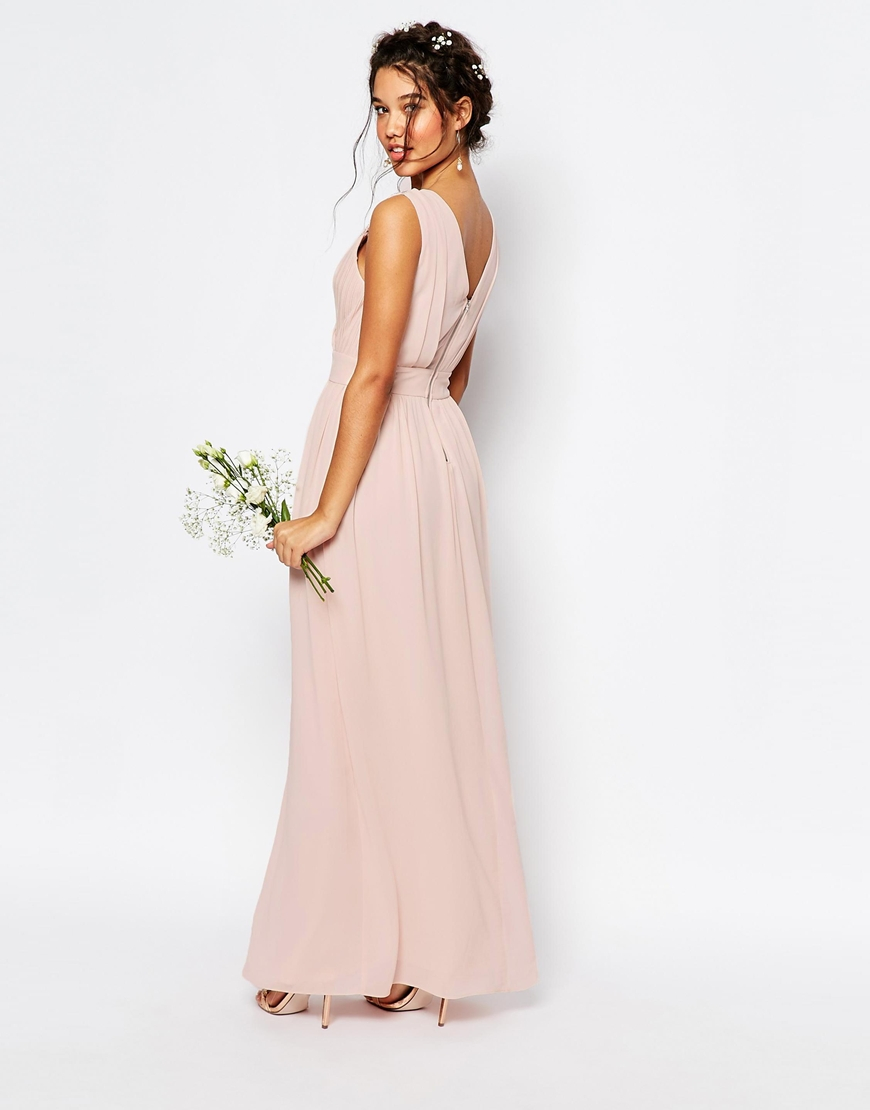 Tfnc London Wedding Wrap Embellished Maxi Dress In Orange