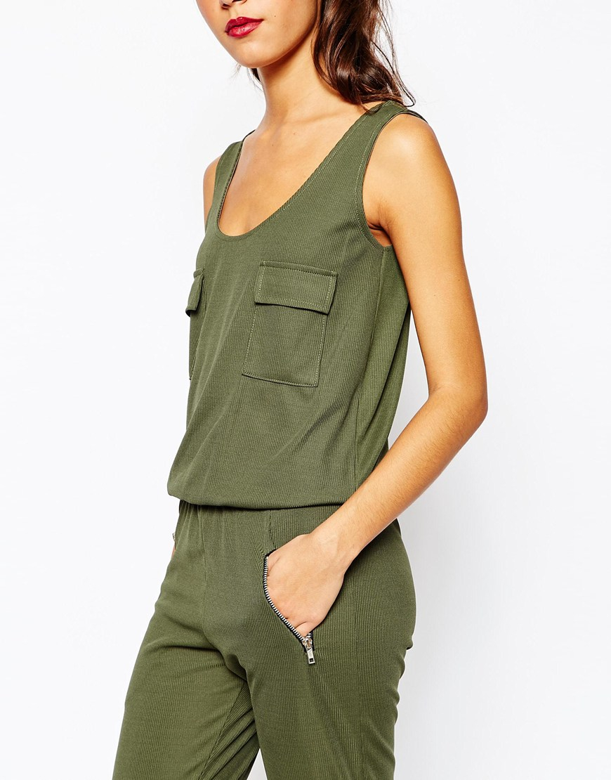 lyst daisy street rib jumpsuit with military pocket. Black Bedroom Furniture Sets. Home Design Ideas