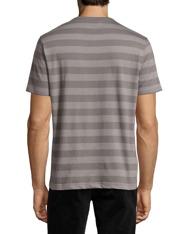 Original penguin wide stripe short sleeve henley in gray for Golf shirt with penguin logo