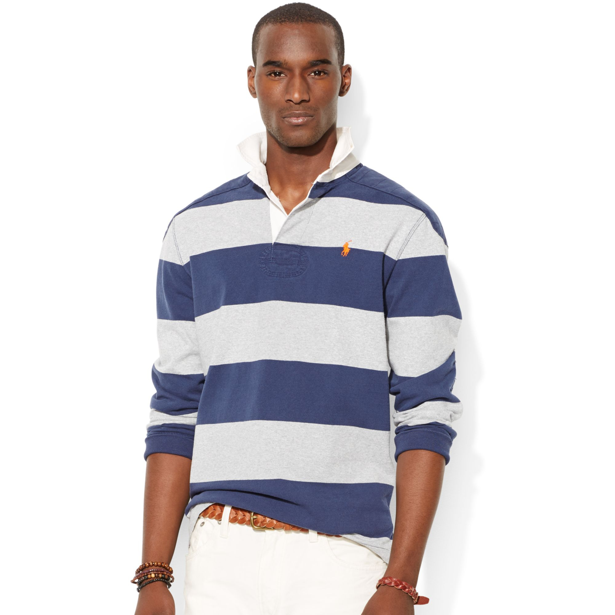 Polo Ralph Lauren Striped Rugby Shirt In Blue For Men