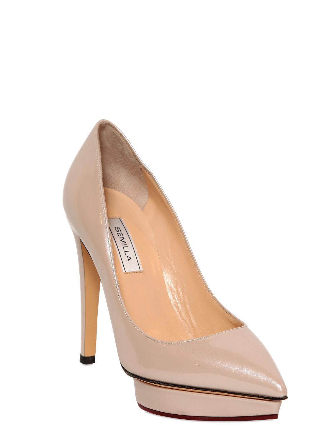 7e248d0ae829 Lyst - Semilla 120mm Glossy Patent Leather Pumps in Natural