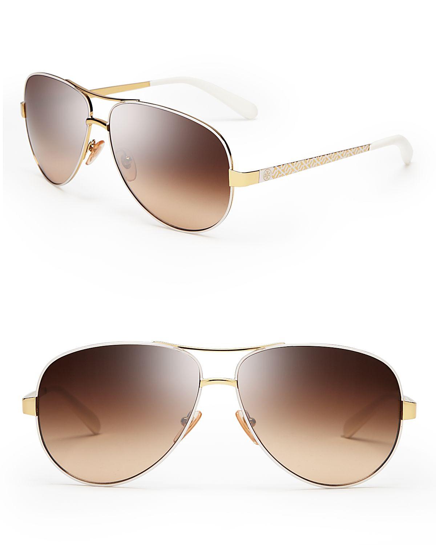 0059ea023d Lyst - Tory Burch Aviator Sunglasses in Metallic
