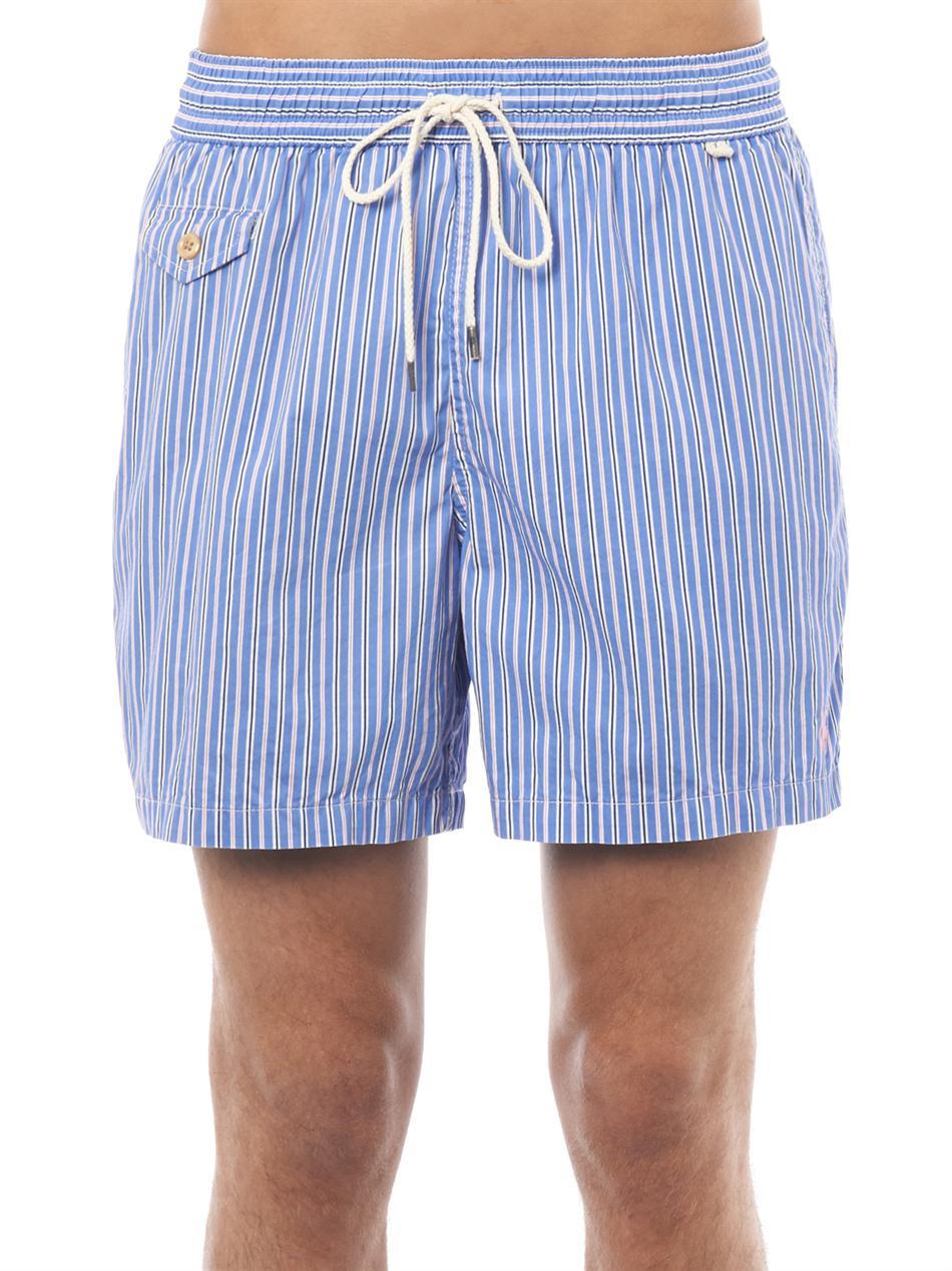 85e494578c Polo Ralph Lauren Traveler Butcher's Stripe Swim Shorts in Blue for ...