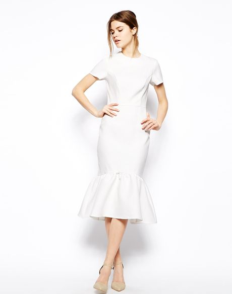 Asos pencil dress with peplum hem in texture in white lyst for White peplum wedding dress
