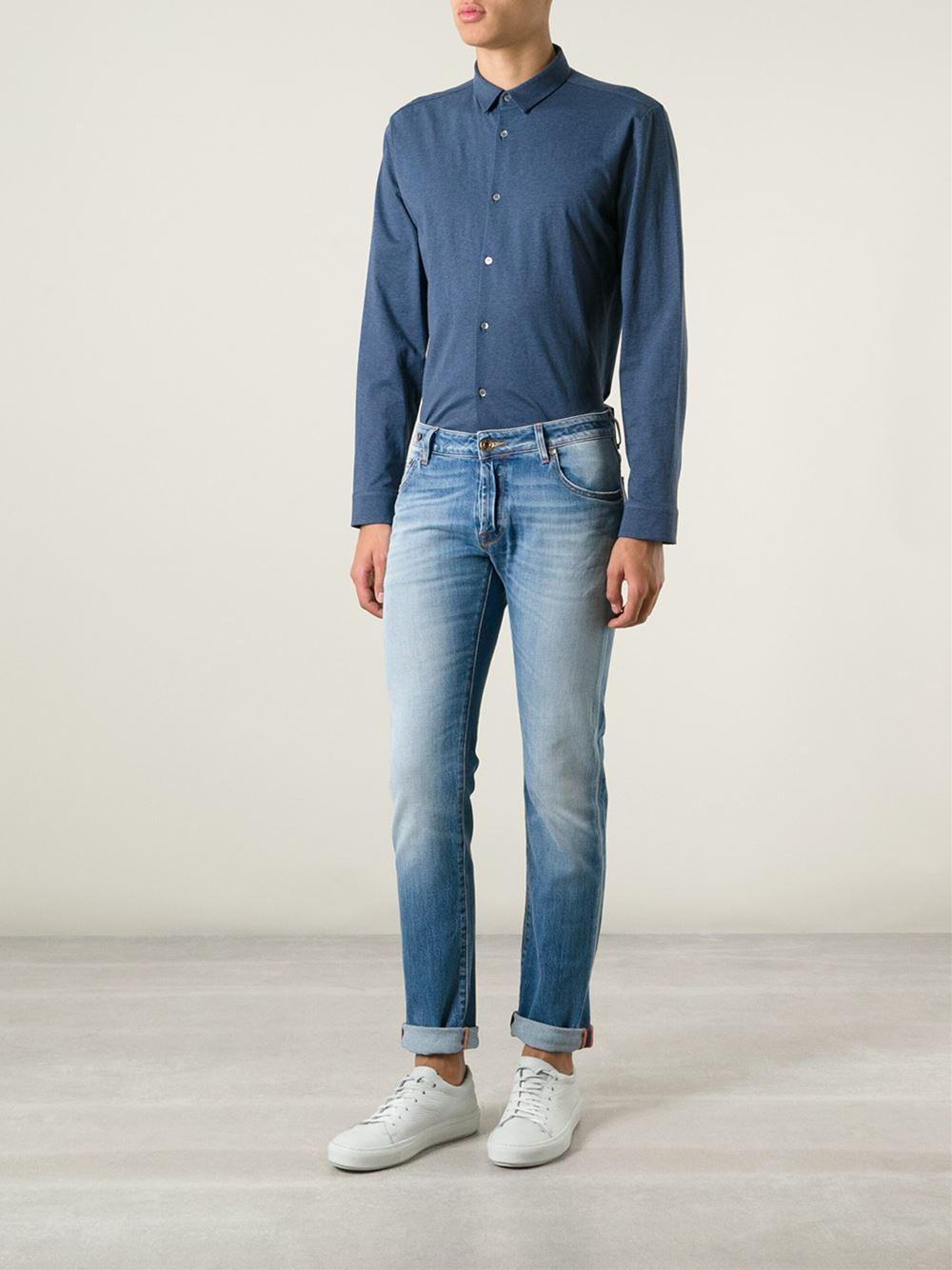 Jacob cohen 39 nick 39 washed jeans in blue for men lyst - Jacob cohen denim ...