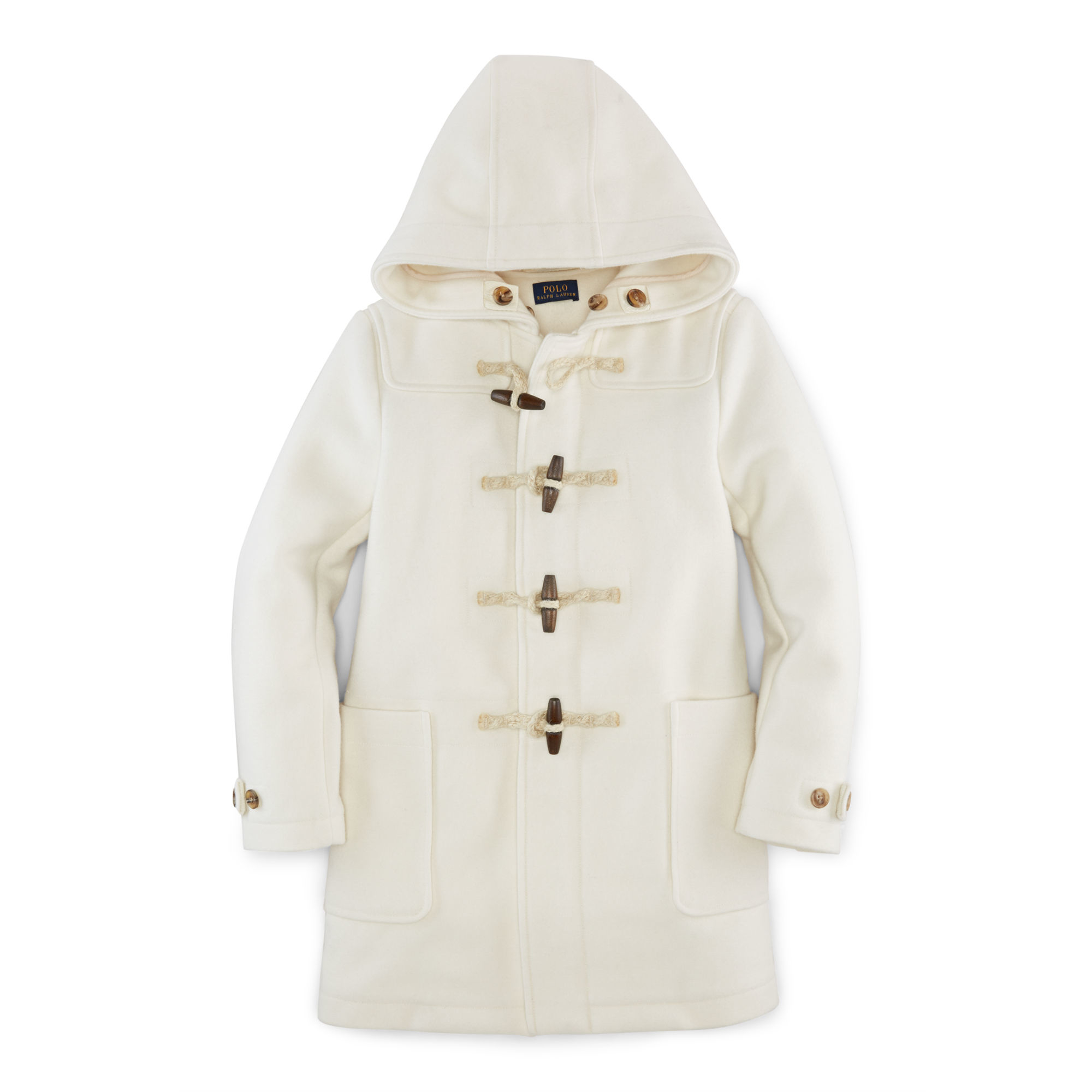 b7aa0c23f145 Ralph Lauren Hooded Wool-blend Toggle Coat in Natural - Lyst