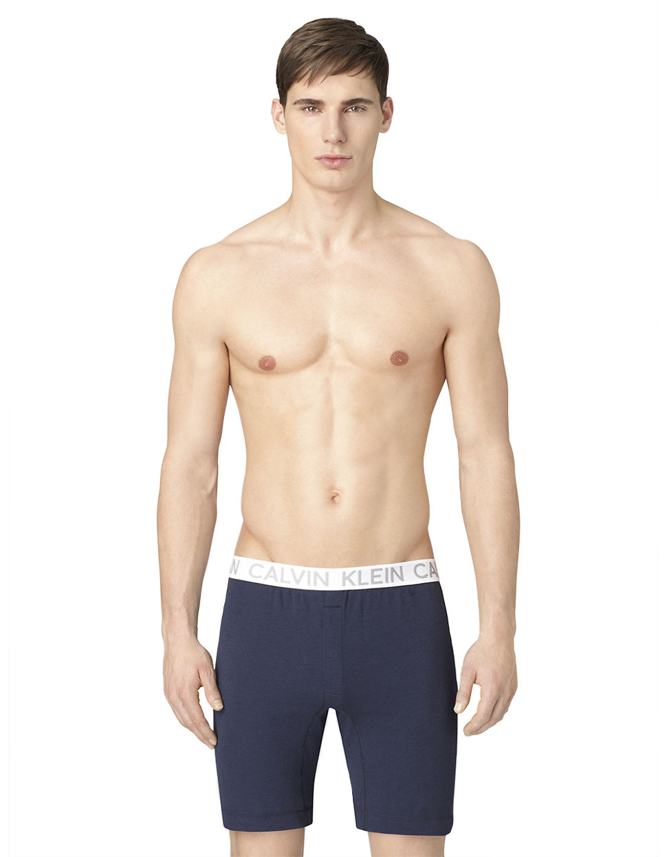 calvin klein superior long slim boxer shorts in blue for men lyst. Black Bedroom Furniture Sets. Home Design Ideas