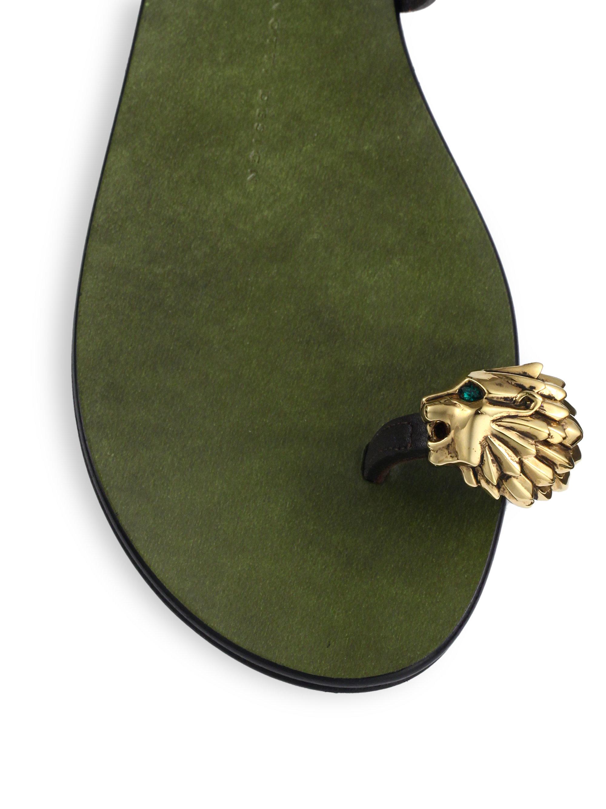 cadd1d5b1d5f7 Giuseppe Zanotti Metallic Lion Toe Ring Leather Sandals in Green - Lyst