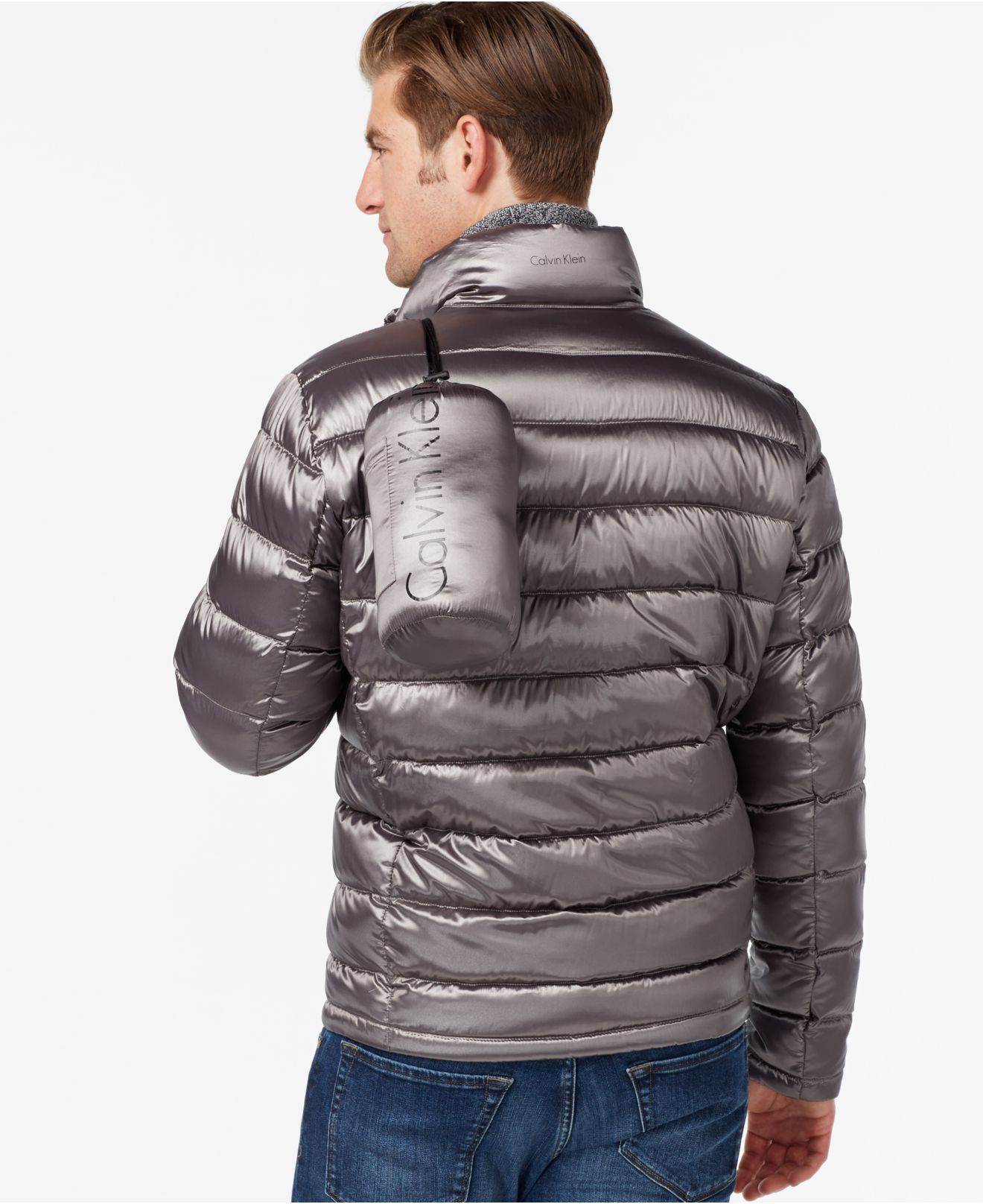 Lyst Calvin Klein Men S Packable Down Jacket In Gray For Men