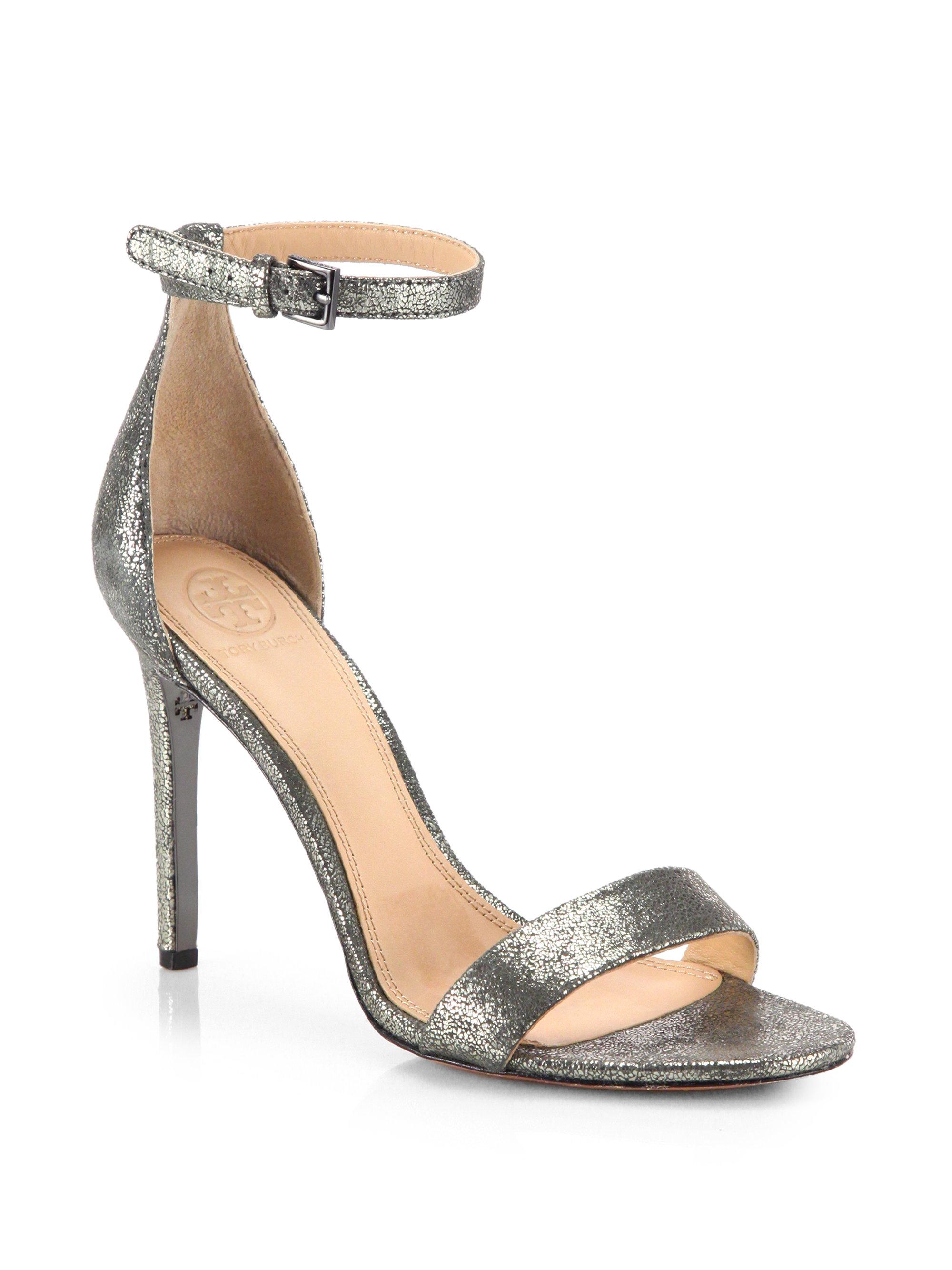 6aee93cecacc Lyst - Tory Burch Keri Crackled Metallic Leather Sandals in Metallic