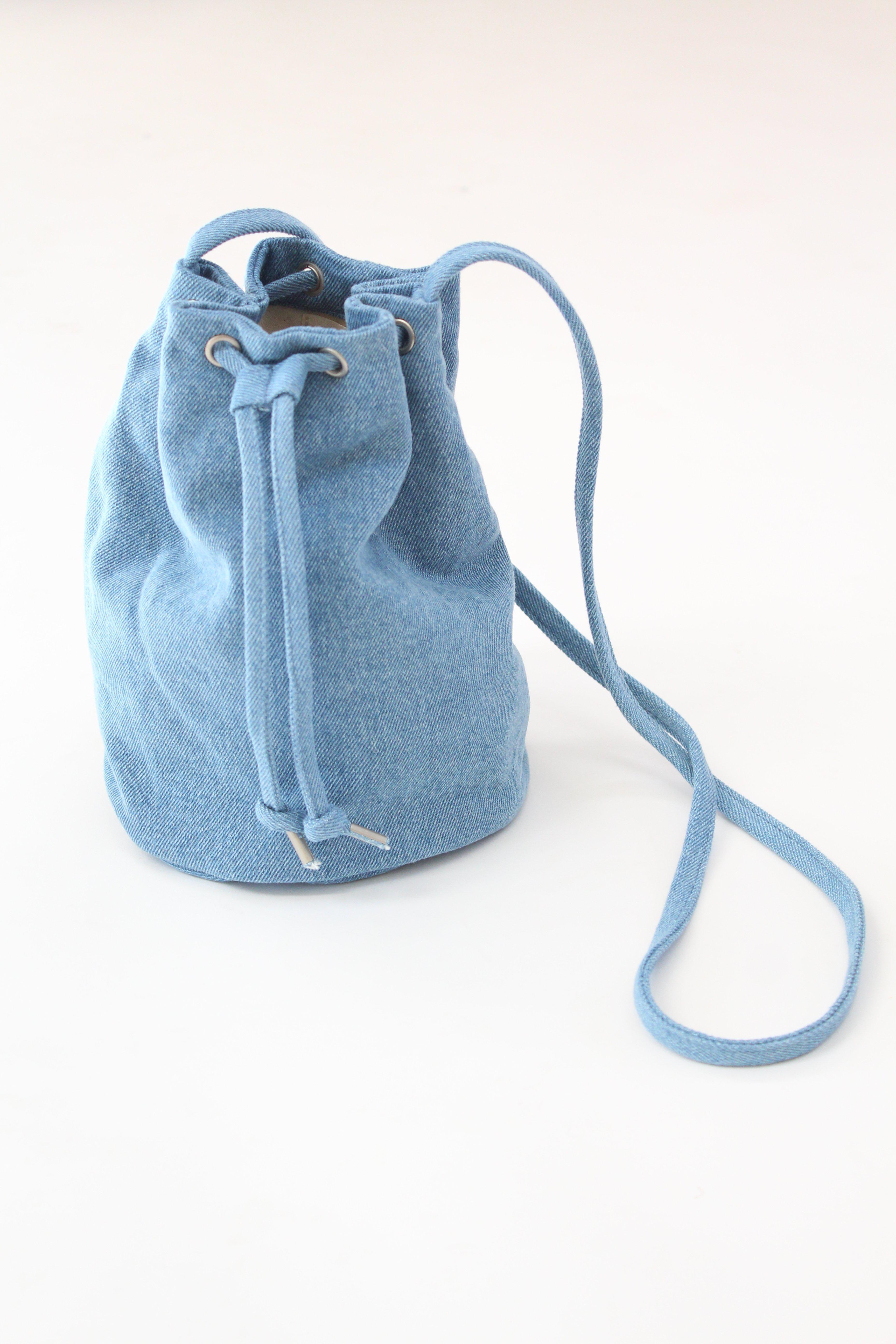 9f2fb5b5f BAGGU Canvas Drawstring Purse Washed Denim in Blue - Lyst