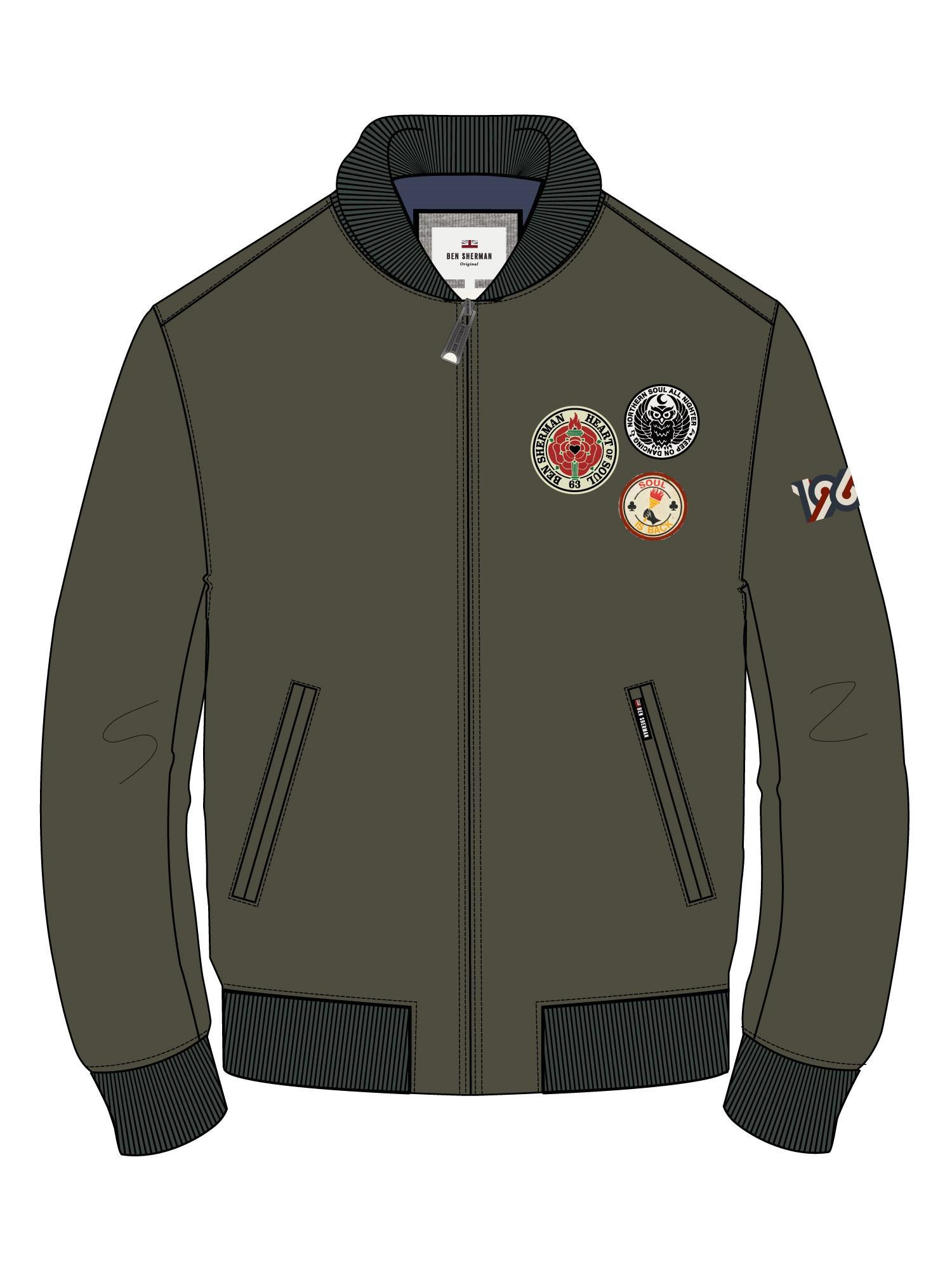 3db6a2fbf Ben Sherman Sateen Badge Bomber in Green for Men - Lyst