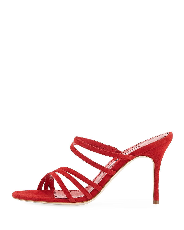 7acf58fa4 Lyst - Manolo Blahnik Andena Suede Mule Sandal in Red