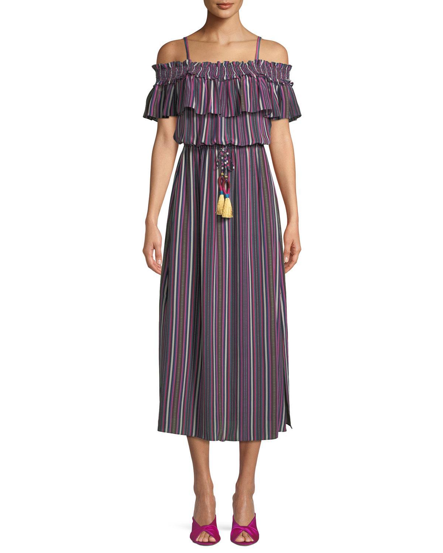 Mirella Cold-shoulder Striped Silk Crepe De Chine Midi Dress - Purple Figue Limit Discount Kf5ieL