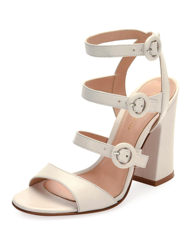 87e50f4c2 Lyst - Gianvito Rossi Mali Leather Multi-strap Block-heel Sandal in ...