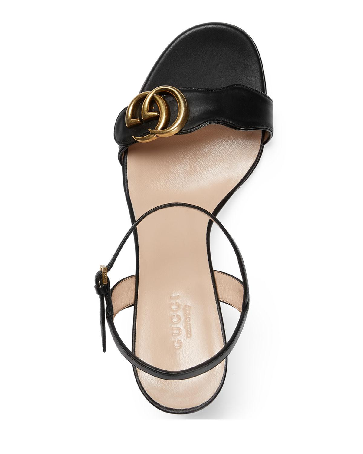 65cd84275 Gucci Marmont Leather GG Block-heel Sandals in Black - Lyst