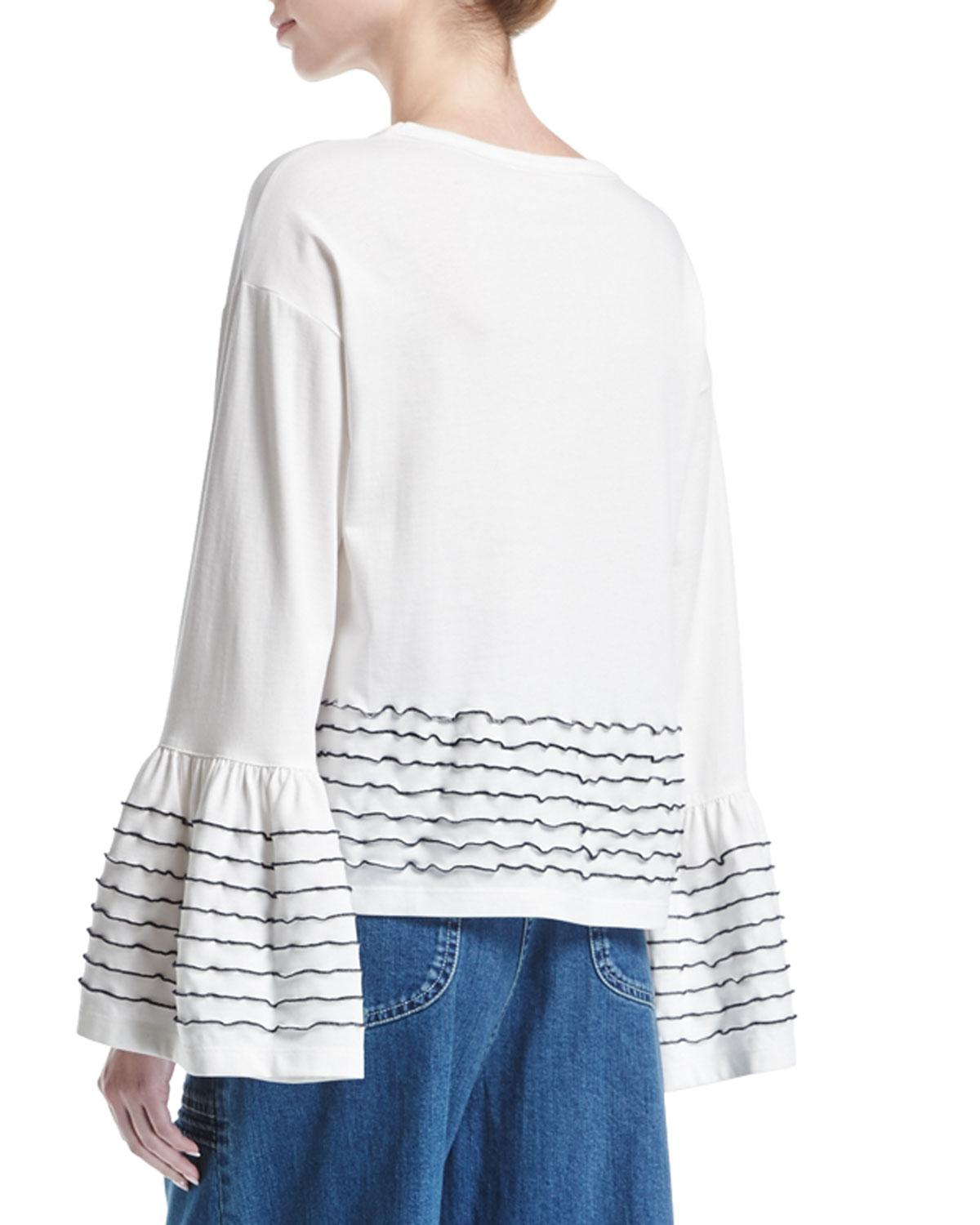 f610e76daf34a See By Chloé Ruffle-trim Long-sleeve Cotton Top in White - Save 14% - Lyst