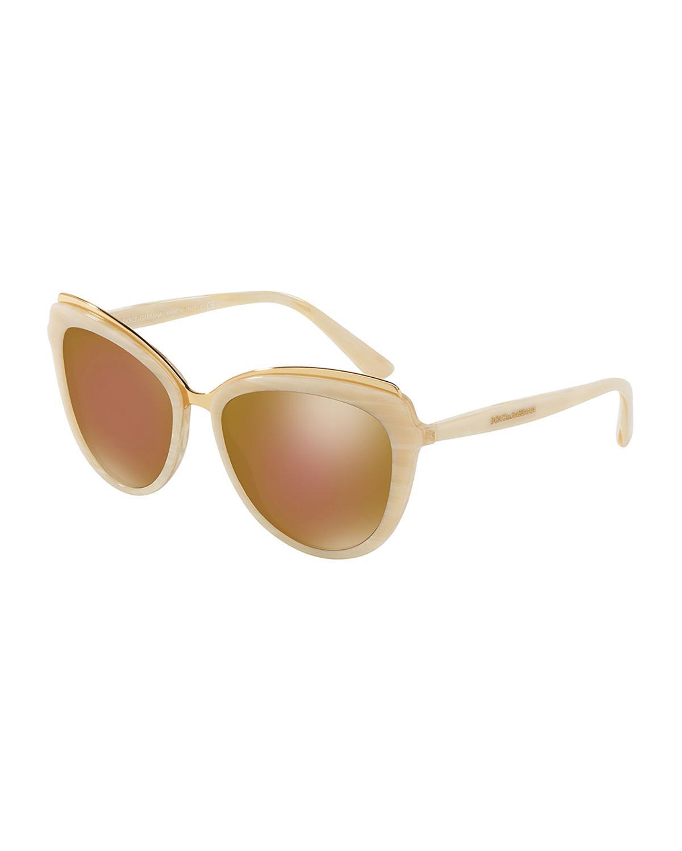 f71112d0b9a4 Lyst - Dolce   Gabbana Metal-trim Mirrored Iridescent Cat-eye Sunglasses