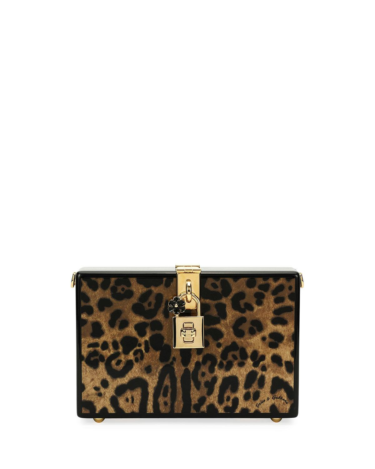 Lyst - Dolce   Gabbana Leopard-print Wood Box Clutch Bag in Brown d0e1ed507a8b4