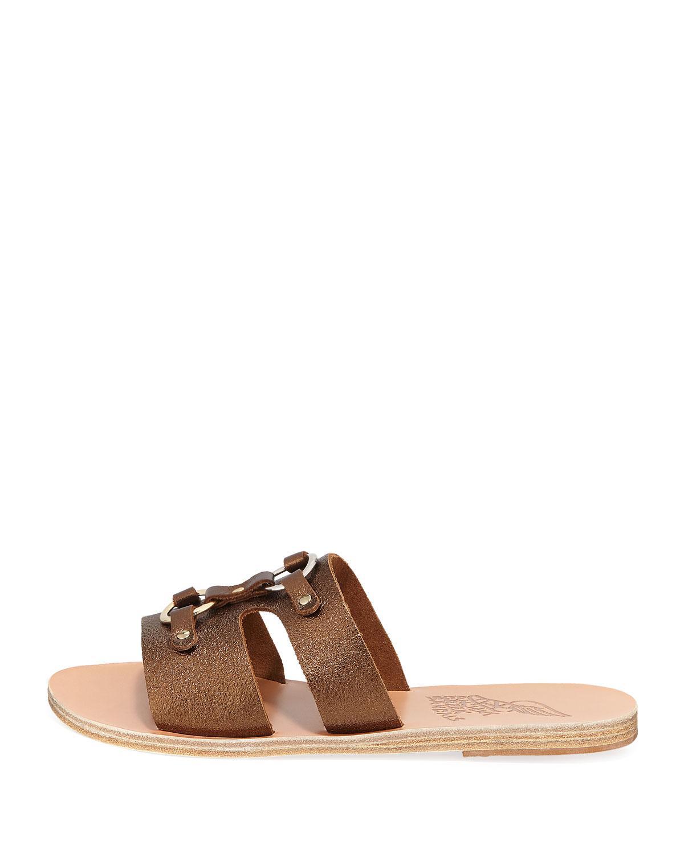 c39ca269e1172 Lyst - Ancient Greek Sandals Attiki Flat Metallic Leather Slide Sandal in  Brown