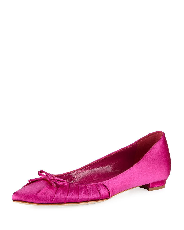 2e9d61fca3b5 Lyst - Manolo Blahnik Pleata Point-toe Satin Ballerina Flat in Pink