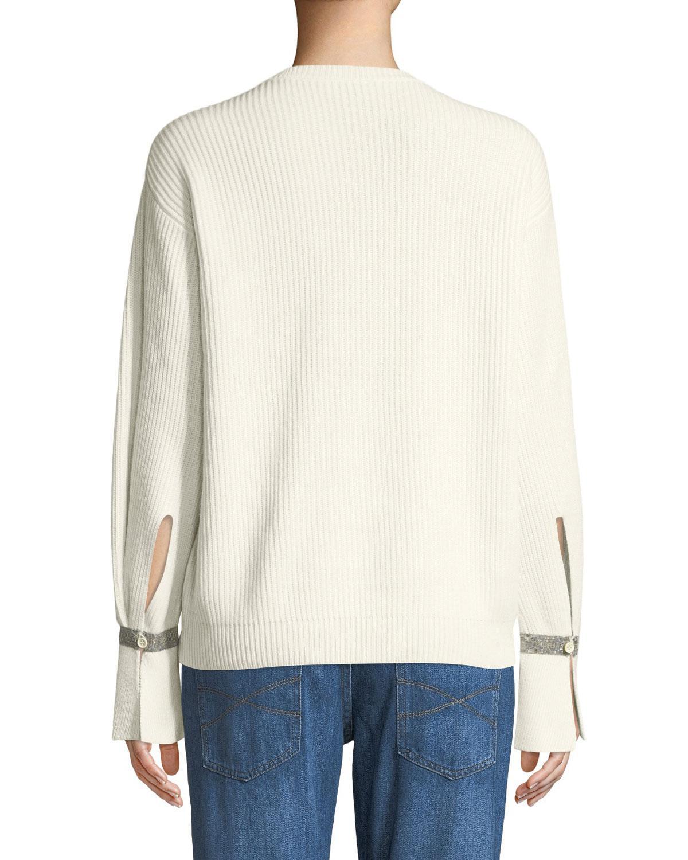 c0dad7fb38 Lyst - Brunello Cucinelli Crewneck Ribbed Cashmere Sweater W  Monili Cuff  in White