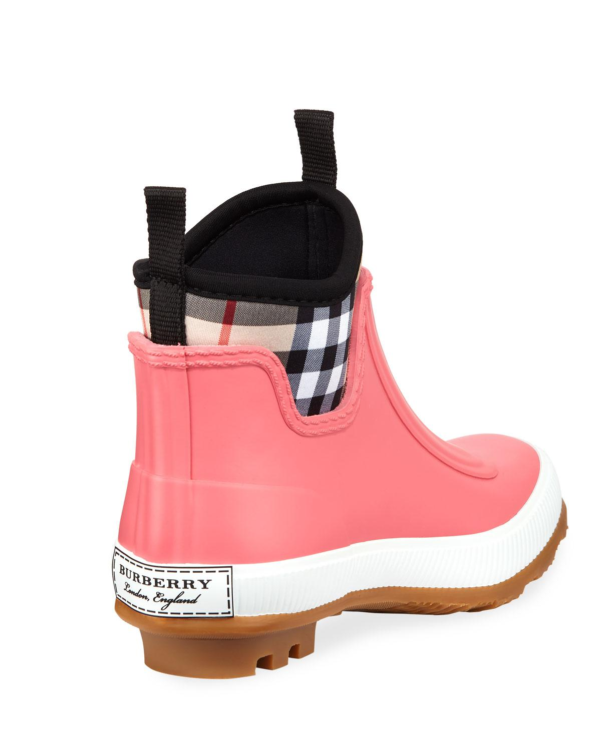 e28a92c736db Lyst - Burberry Flinton Short Rubber Rain Boots W  Check Detail in Pink