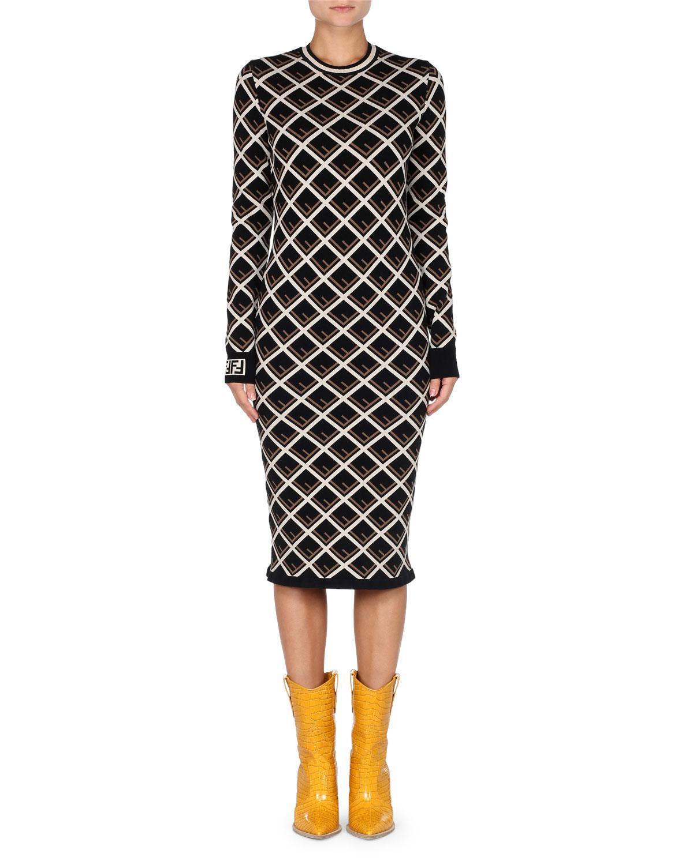 1e4e4715d88c Fendi Long-sleeve Logo-knit Midi Dress in Black - Lyst