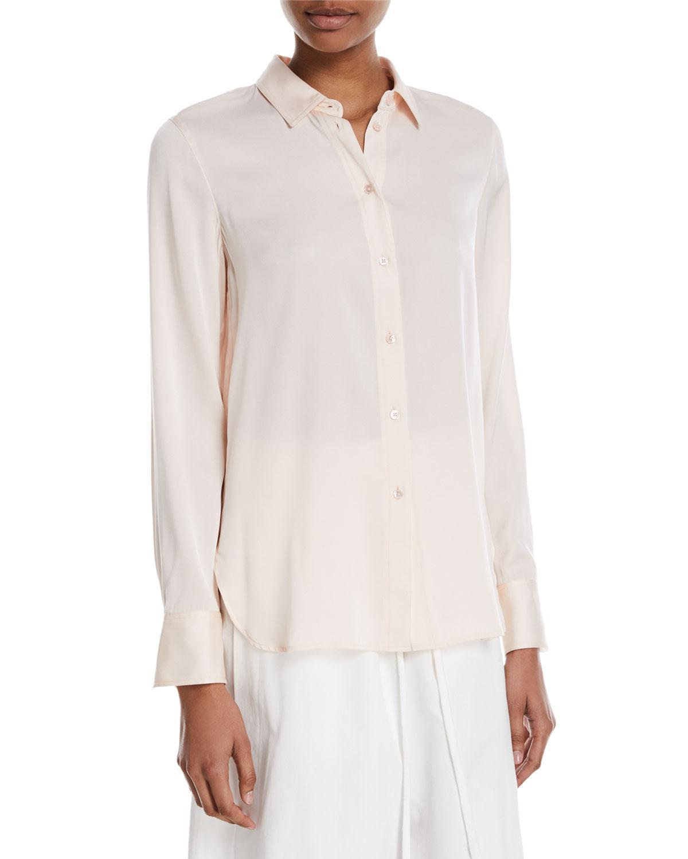 c374221ec53ae Lyst - Vince Slim-fit Button-front Silk Blouse