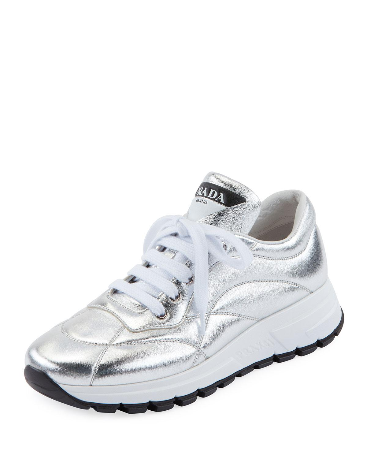 16e7da3bbd0 Lyst - Prada Quilted Leather Trainer Sneakers in White
