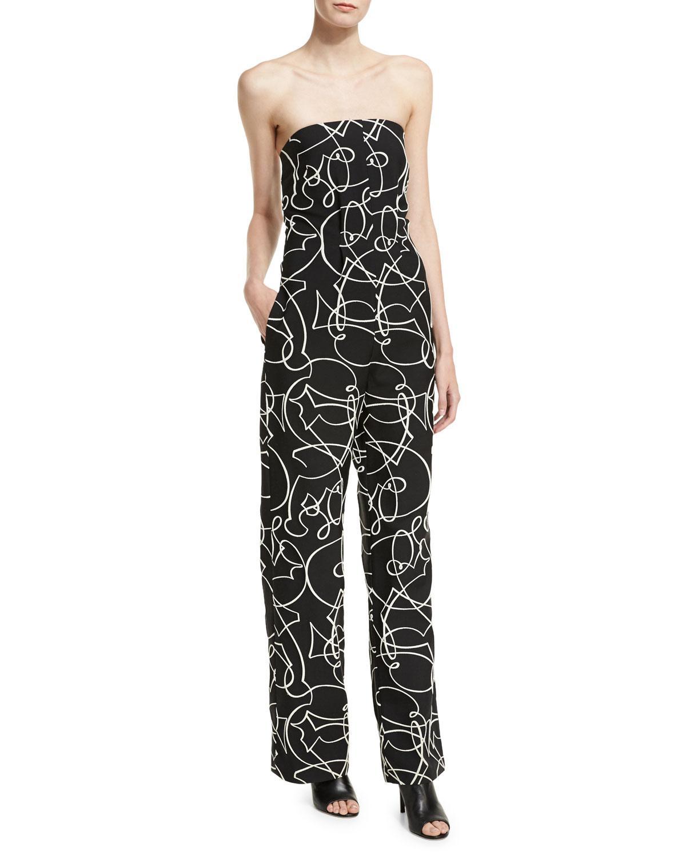 93eeaa37ac4 Lyst - Zero + Maria Cornejo Strapless Graphic Jacquard Jumpsuit in Black