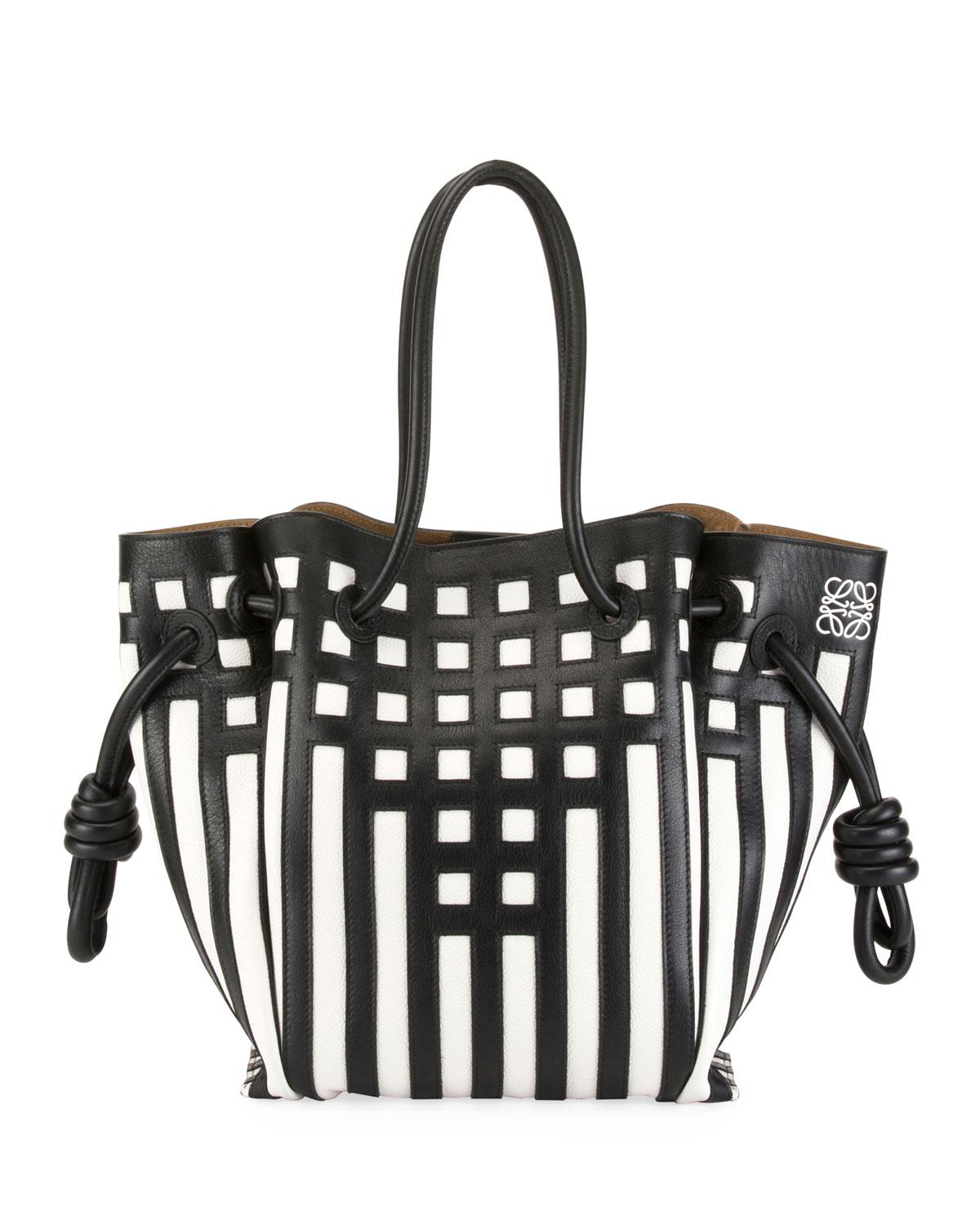 Lyst - Loewe Flamenco Knot Grid Leather Tote Bag in Black - Save 16% 6d6d18f4166b2