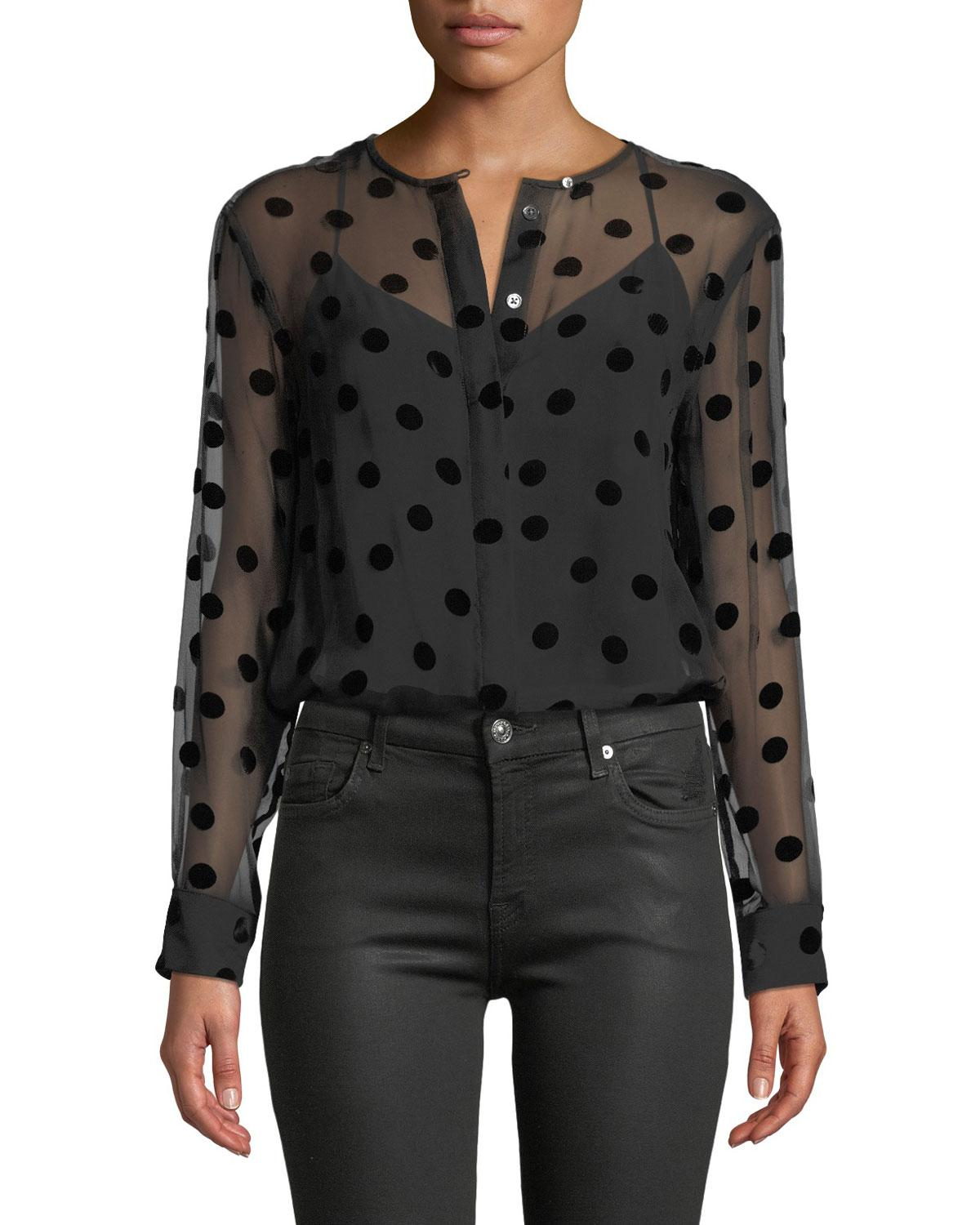 117715f26b171 Lyst - Equipment Simon Button-front Long-sleeve Velvet-dotted Blouse ...