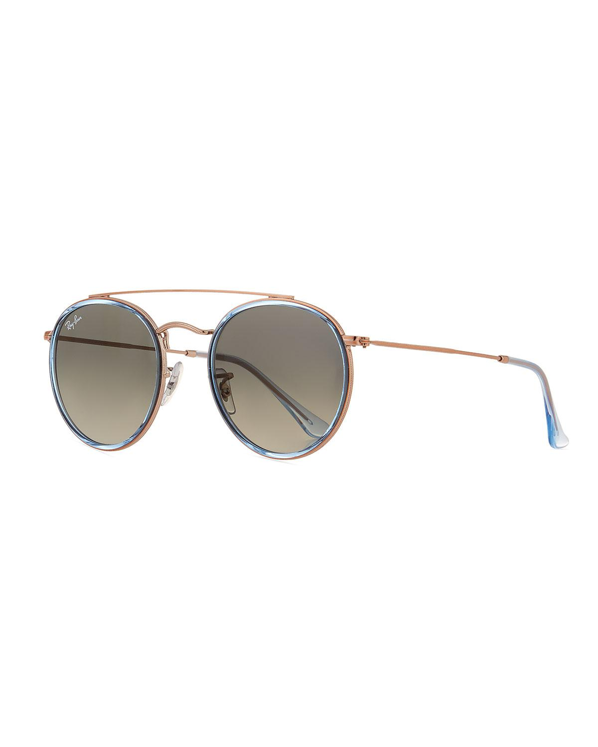 abdf42deb1 Lyst - Ray-Ban Rb3647 Round Metal Sunglasses in Blue for Men