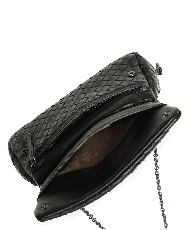 1624621cc2 Bottega Veneta Intrecciato Small Chain Crossbody Bag in Black - Lyst