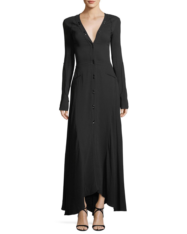 cfcf910c780 Nina Ricci Long-sleeve Button-down Cady Maxi Dress in Black - Lyst