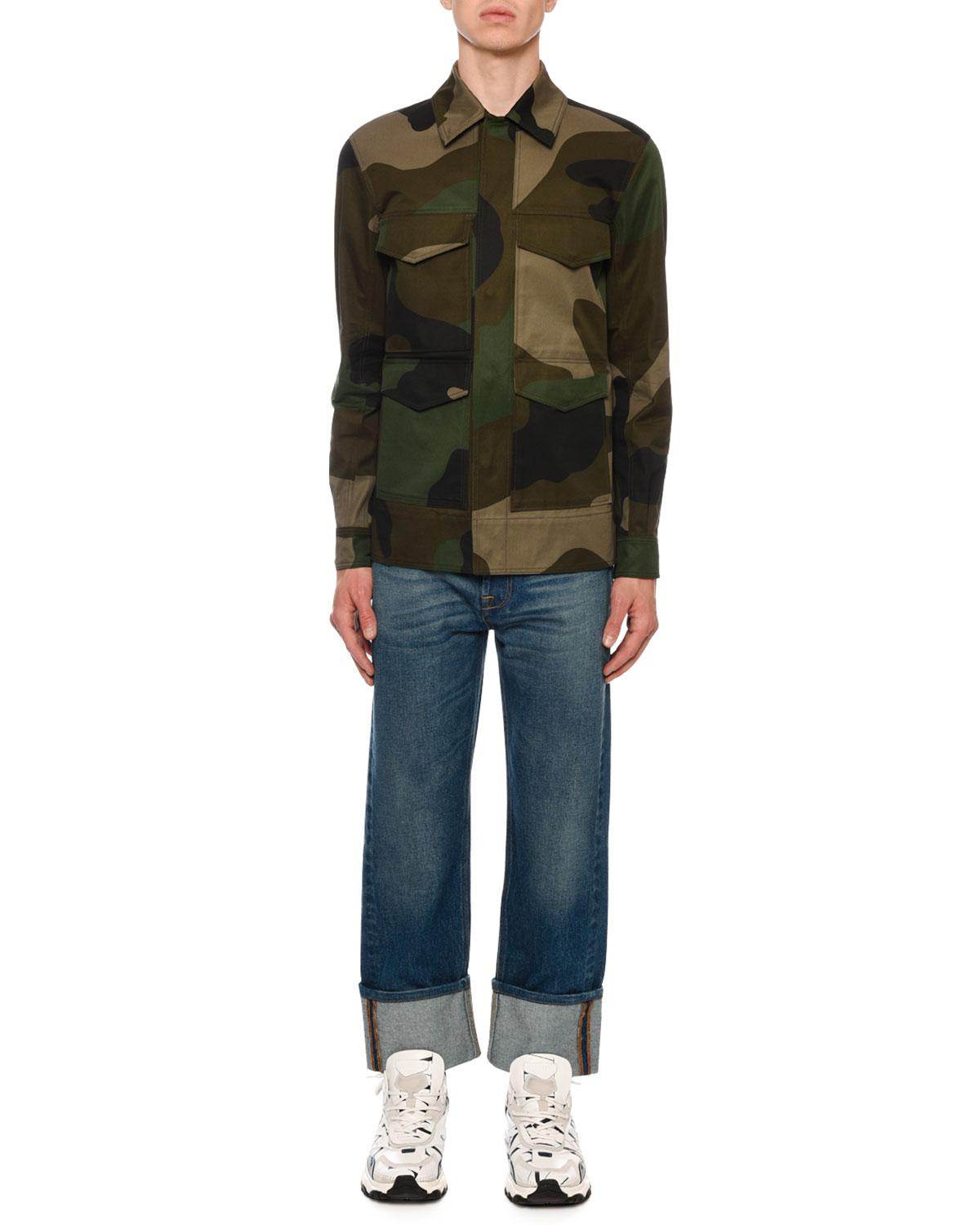 296be6979b985 Lyst - Valentino Men's Camo Army Field Jacket in Green for Men
