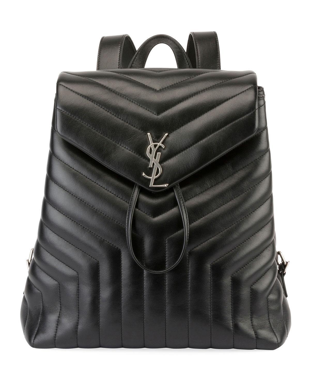 e19f5c2954 Saint Laurent. Women s Black Loulou Monogram Ysl Medium Quilted Leather  Backpack