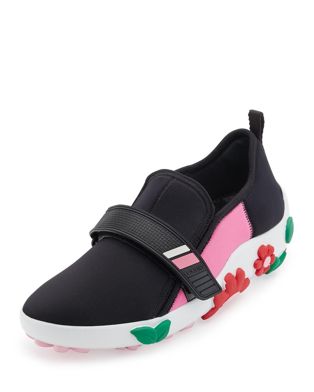083ce3a8a423 Lyst - Prada Neoprene Flower-heel Sneaker in Black