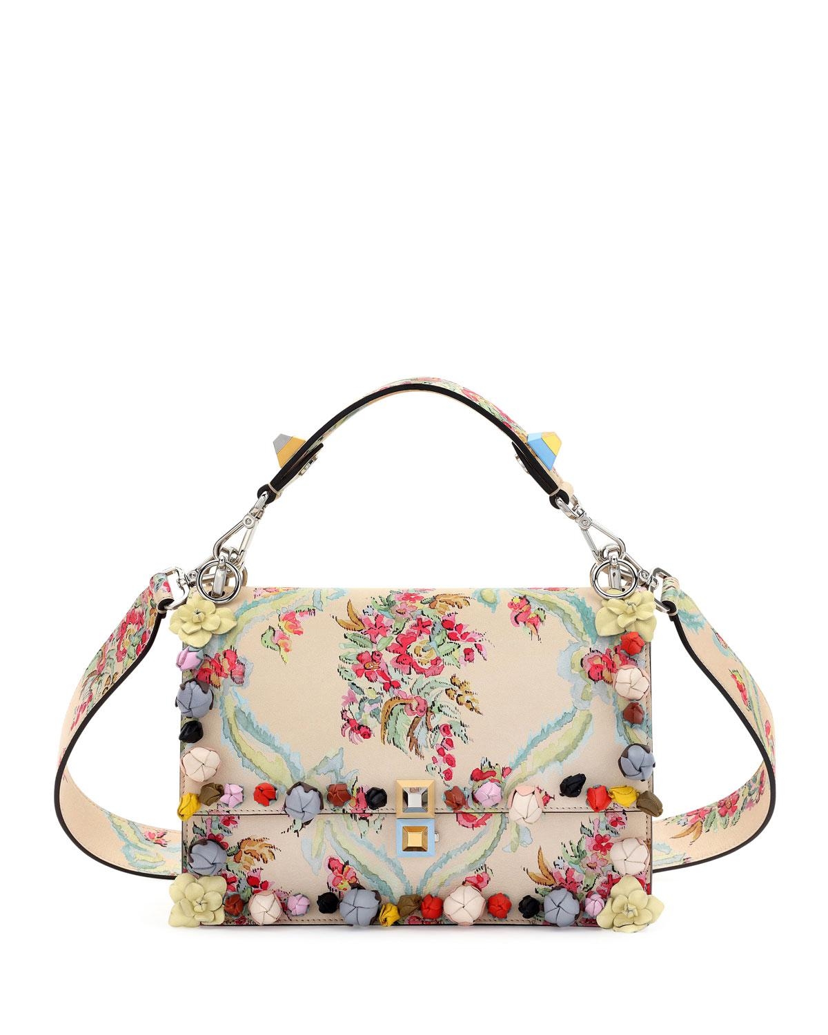5dc876d4b611 Lyst - Fendi Kan I Floral Leather Shoulder Bag - Save 6%