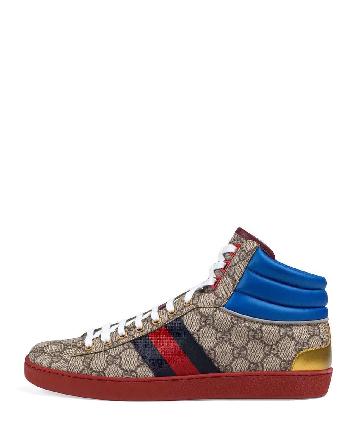 ebe3bb3539e Lyst - Gucci Ace GG High-top Sneakers in Brown for Men