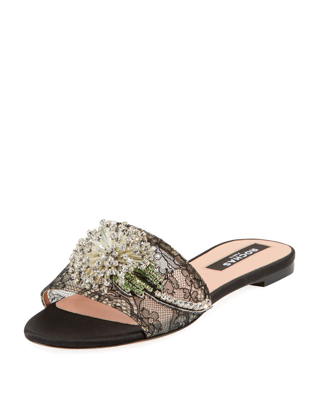 3c006fd83b01 Lyst - Rochas Dandelion Lace Slide Sandals