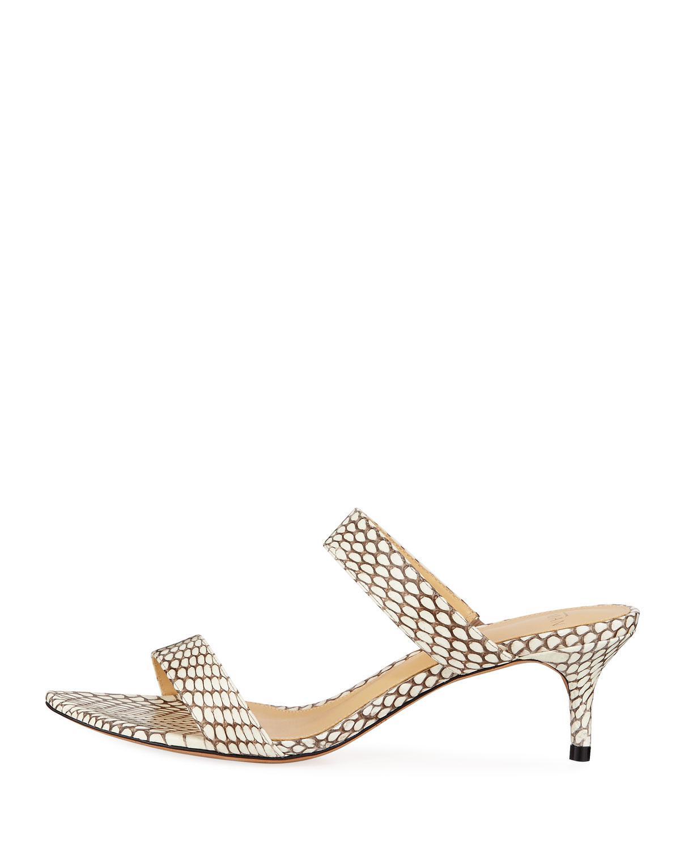 2404b915d Lyst - Alexandre Birman Leblon Snakeskin Kitten-heel Sandals in Natural