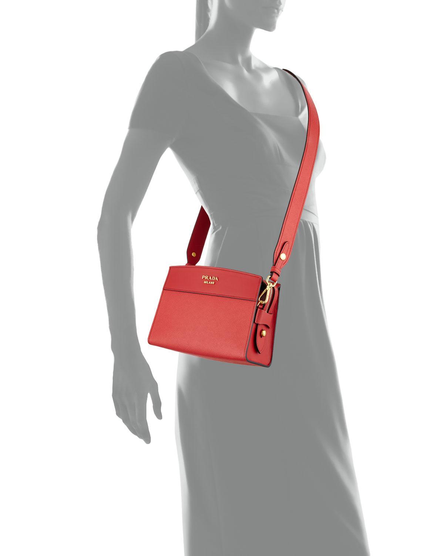 23a1fd37c18a Prada Esplanade Saffiano Crossbody Bag in Black - Lyst