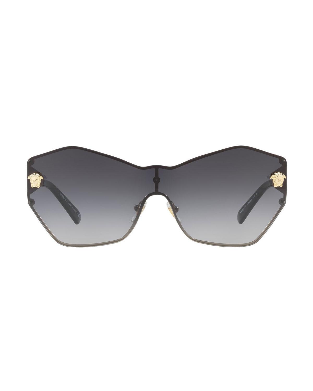 40bf54b13e8c Lyst - Versace Rimless Shield Medusa Head Sunglasses in Gray