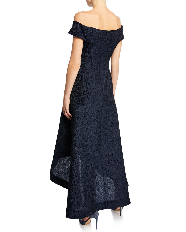 dfd10ba171fc Lyst - Teri Jon Taffeta Off-the-shoulder High-low Cocktail Dress in Blue
