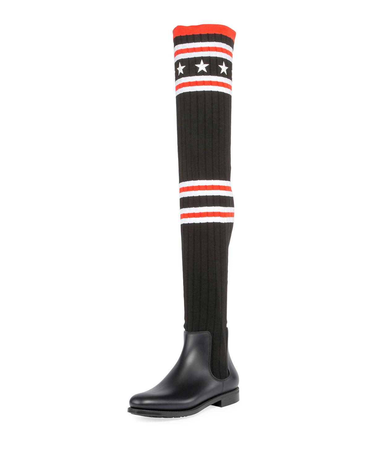 Black Over-the-Knee Sock Rain Boots Givenchy
