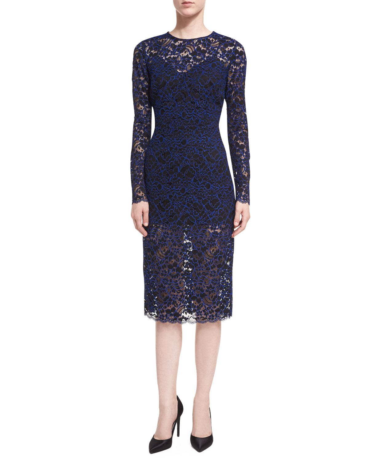 Lyst - Veronica Beard Jewel-neck Long-sleeve Corded Lace Cocktail ...